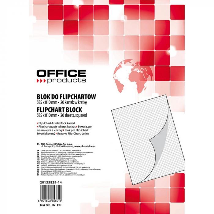 Rezerva hârtie pentru flipchart, 70g/mp, 58.5x81cm, 20coli/top, Office products - caroiata [0]
