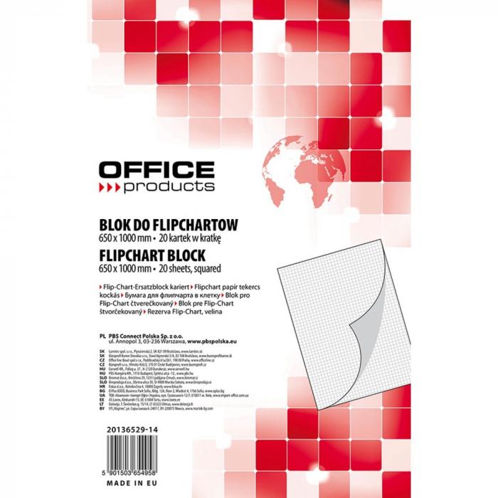 Rezerva hârtie pentru flipchart, 70g/mp, 65x100cm, 20coli/top, Office products - caroiata [0]