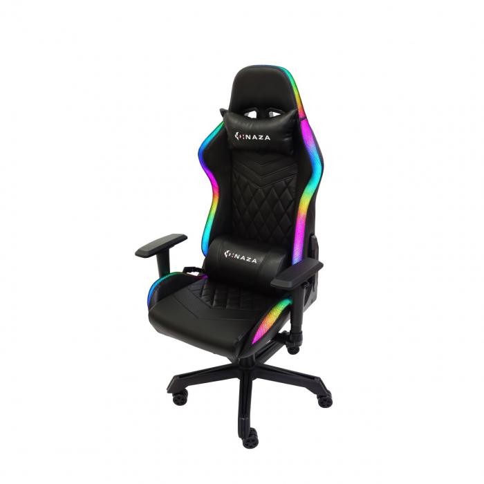 Scaun gaming Inaza Rainbow, Iluminare RGB, Negru [6]