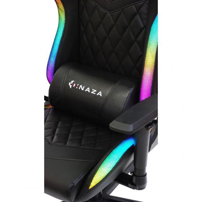 Scaun gaming Inaza Rainbow, Iluminare RGB, Negru [5]