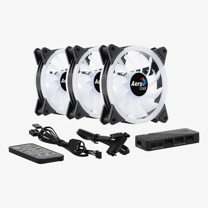 Set 3 ventilatoare Aerocool Duo 12 Pro 120mm iluminare aRGB [2]