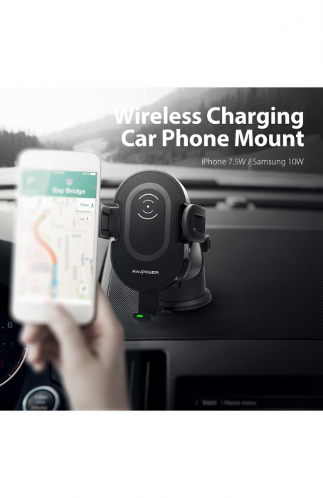 Suport auto cu incarcare wireless RAVPower Fast Charger 7.5W / 10W Lock&Release Negru [4]