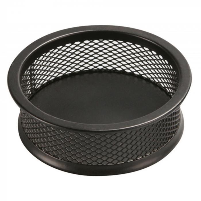 Suport metalic Mesh, pentru agrafe, forma rotunda - D90mm, H32mm, Q-Connect, negru [0]