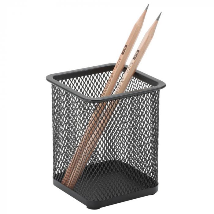 Suport metalic Mesh, pentru instrumente de scris, forma patrata, Q-Connect, negru [0]