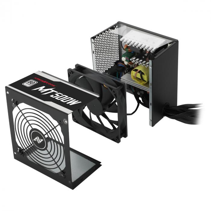 Sursa ABKONCORE Mighty 500W Real Power, PFC activ, ventilator, 120mm, 80 Plus 3