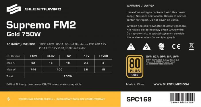 Sursa SILENTIUM PC 750W, Supremo FM2 Gold Series, 80 PLUS Gold [5]
