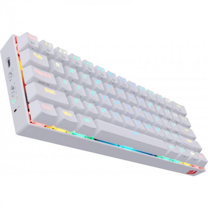 Tastatura gaming mecanica Redragon Draconic, format 60%, iluminare RGB, Bluetooth, USB-C, switch-uri Outemu Brown, Alb [1]