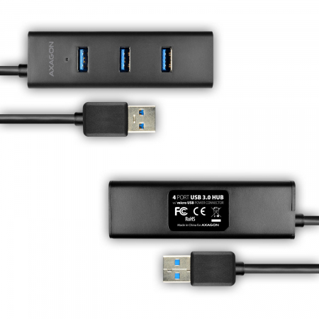 4x USB3.0 Charging Hub 1.2m Cable, MicroUSB Charging, Incl. AC Adapter [4]