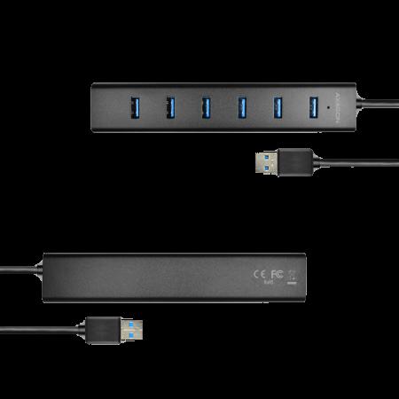 7x USB3.0 ALU Charging Hub Incl. AC Adapter, Black [11]