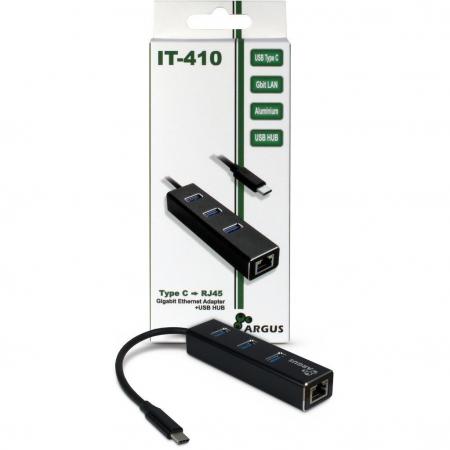 Adaptor retea Inter-Tech IT-410 Gigabit cu HUB USB 3.01