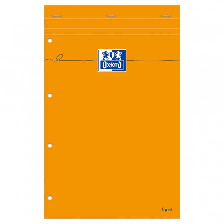 Blocnotes A4+, OXFORD Orange, 80 file galbene - 80g/mp, Scribzee, 4 perf, coperta carton - dictando1