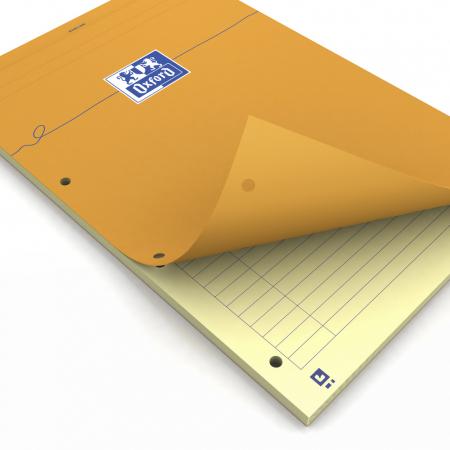 Blocnotes A4+, OXFORD Orange, 80 file galbene - 80g/mp, Scribzee, 4 perf, coperta carton - dictando0