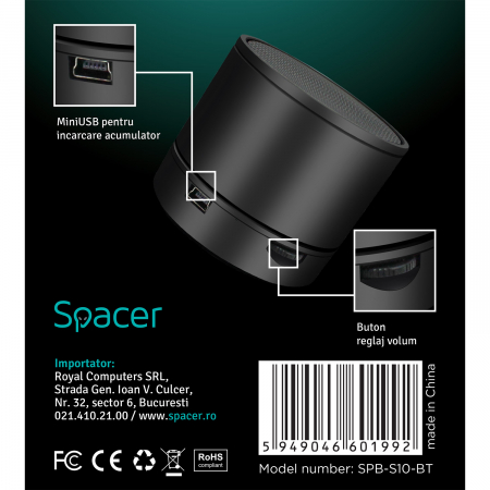 Boxa portabila Spacer Bluetooth S10 Neagra [3]