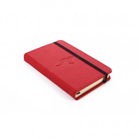 Caiet cu elastic, A6, 96 file-100g/mp-cream, coperti rigide rosii, Dingbats Kangaroo - punctat1