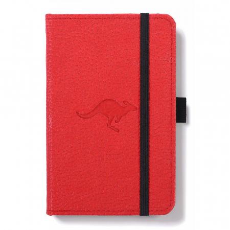 Caiet cu elastic, A6, 96 file-100g/mp-cream, coperti rigide rosii, Dingbats Kangaroo - punctat0