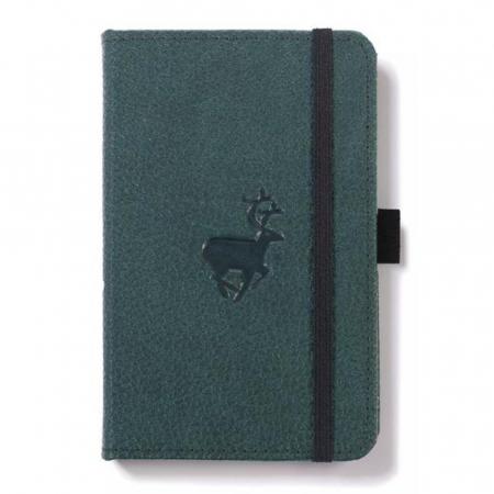 Caiet cu elastic, A6, 96 file-100g/mp-cream, coperti rigide verzi, Dingbats Deer - cu puncte0
