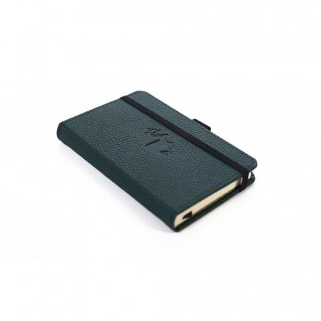 Caiet cu elastic, A6, 96 file-100g/mp-cream, coperti rigide verzi, Dingbats Deer - cu puncte2