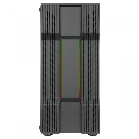 Carcasa ABKONCORE Cronos 610S Black, ATX Mid Tower,LED RGB Strip, neagra [2]