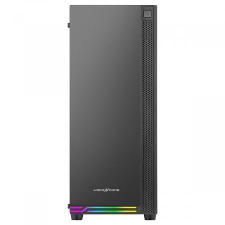 Carcasa ABKONCORE Cronos 710S Black, ATX Mid Tower, panou sticla securizata, LED RGB Strip, RGB fan, fara sursa [1]