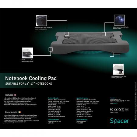 """Cooler Laptop Spacer SPNC-883 17"""", Negru [5]"""