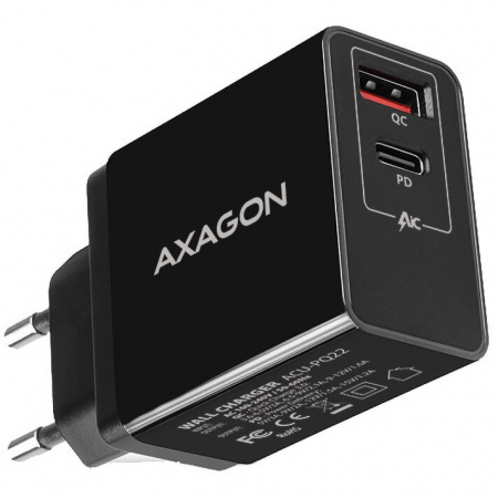 Incarcator retea Axagon Dual USB 5V 3A + 1x Quick Charge3.0, 22W, Negru0