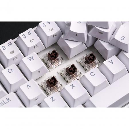 Tastatura gaming mecanica Redragon Draconic, format 60%, iluminare RGB, Bluetooth, USB-C, switch-uri Outemu Brown, Alb [6]