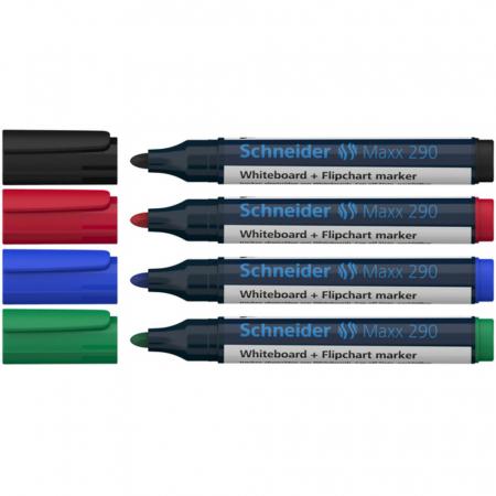 Marker SCHNEIDER Maxx 290, pentru tabla de scris+flipchart, varf rotund 2-3mm, 4 cul/set - (N,R,A,V) [1]