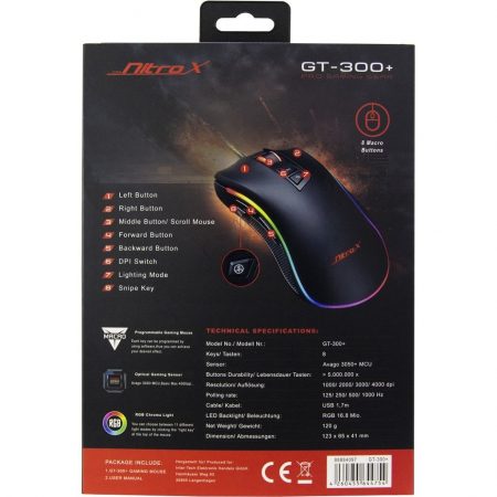 Mouse gaming GT-300+ negru iluminare RGB [7]