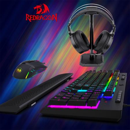 Pachet gaming Redragon, tastatura gaming mecanica Amsa Pro RGB + mouse gaming Octopus RGB + casti gaming Lamia iluminare RGB0