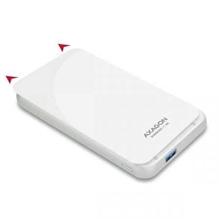 Rack extern Axagon EE25-S6, Conexiune USB 3.0, compatibil cu HDD/SSD de 2.5 inch SATA , 6 Gbit/s, Alb, Toolless [1]