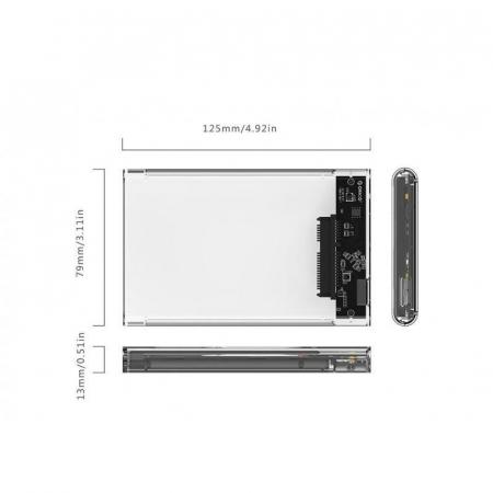 Rack HDD Orico 2139U3 2.5 inch transparent1