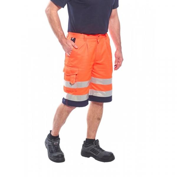 Pantaloni scurţi HI-VIS din poly-bumbac - Portocaliu-neon [0]