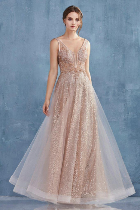 Rochie AndreaLeo Couture A0680 aurie lunga de seara clos din tulle 1
