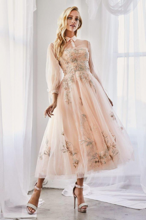 Rochie AndreaLeo Couture A0862 bej maxi de ocazie baby doll din tulle 0
