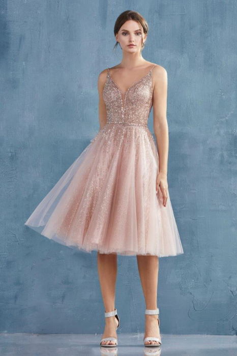 Rochie AndreaLeo Couture A0867 roz midi de ocazie baby doll din tulle [0]