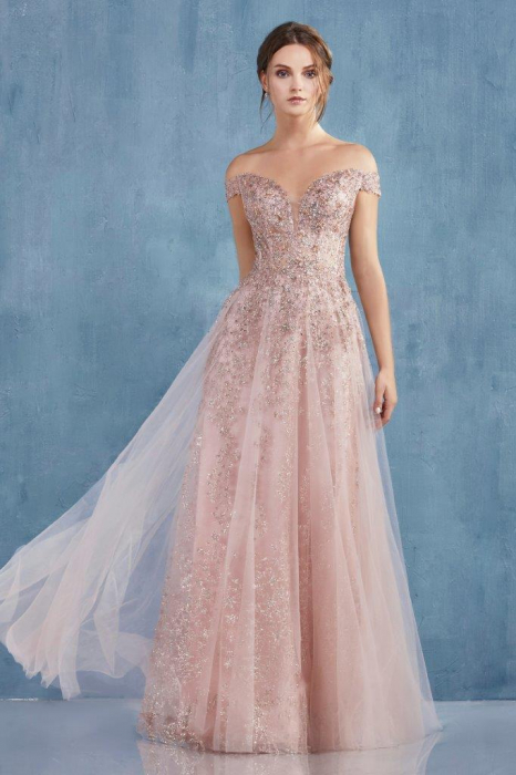 Rochie AndreaLeo Couture A0870 roz lunga de seara clos din tulle 1