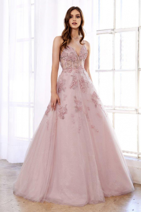 Rochie AndreaLeo Couture A0892 roz lunga de seara princess din tulle 0