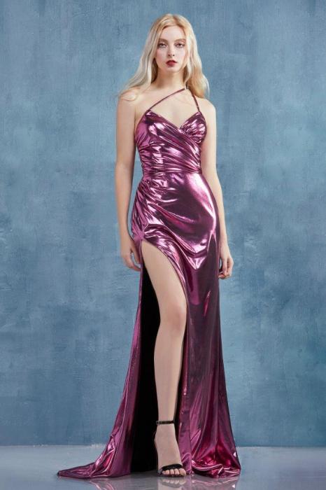 Rochie AndreaLeo Couture A0921 fuchsia lunga de seara mulata din lame 0