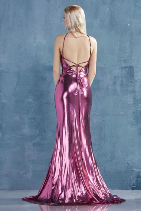 Rochie AndreaLeo Couture A0921 fuchsia lunga de seara mulata din lame 2