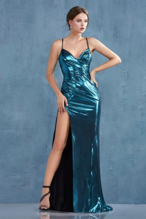 Rochie AndreaLeo Couture A0921 turcoaz lunga de seara mulata din lame 0