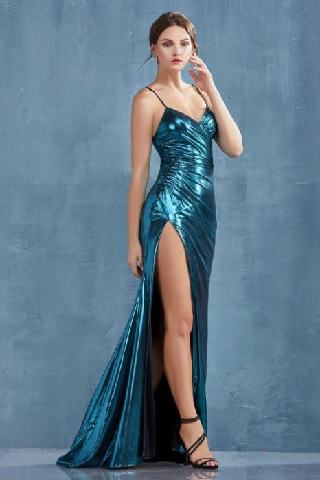 Rochie AndreaLeo Couture A0921 turcoaz lunga de seara mulata din lame 1