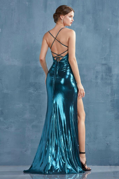 Rochie AndreaLeo Couture A0921 turcoaz lunga de seara mulata din lame 2