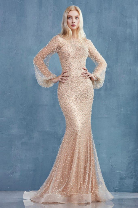 Rochie AndreaLeo Couture A0997 bej lunga de seara sirena din tulle 0