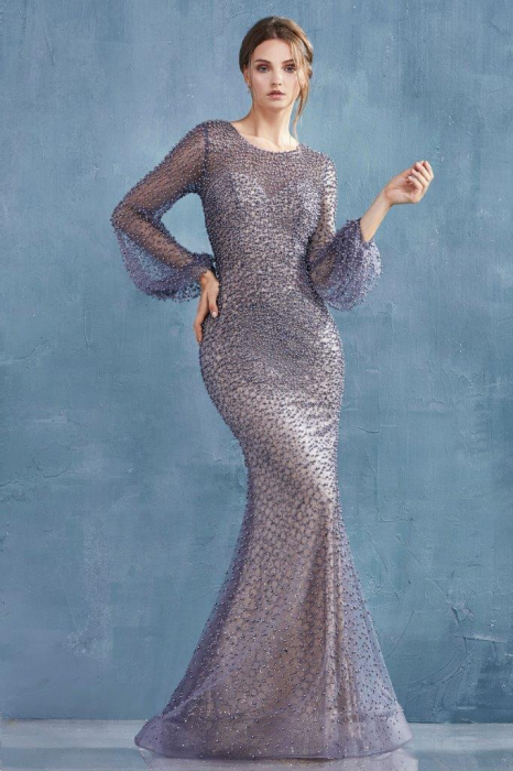 Rochie AndreaLeo Couture A0997 gri lunga de seara sirena din tulle [0]