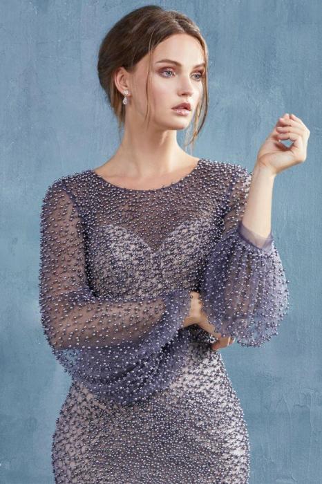 Rochie AndreaLeo Couture A0997 gri lunga de seara sirena din tulle [1]