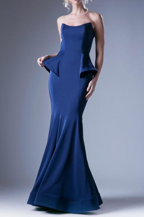 Rochie Andrea Leo Couture 9003 bleumarin lunga de seara tip sirena din crepe 0
