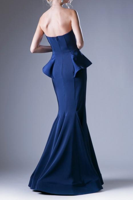 Rochie Andrea Leo Couture 9003 bleumarin lunga de seara tip sirena din crepe 1