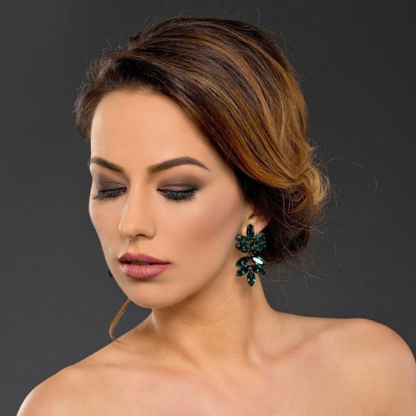 Cercei cristale Swarovski Beatrice Emerald 1