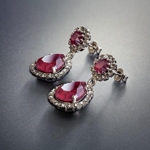 Cercei cristale Swarovski Emily Royal Red 3