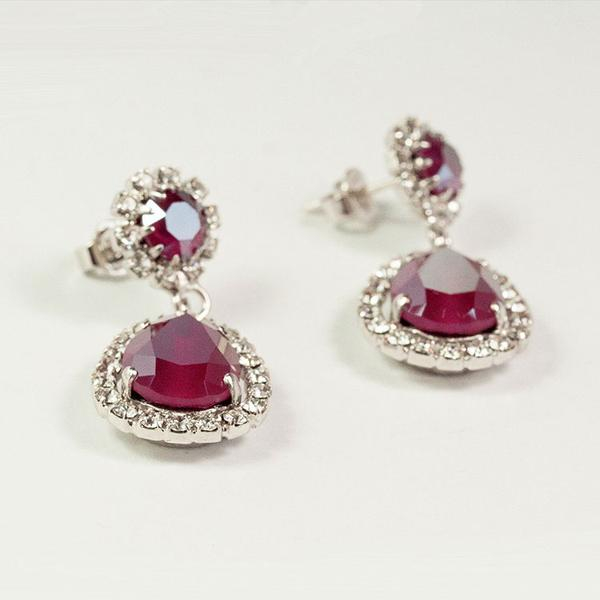 Cercei cristale Swarovski Emily Royal Red 4